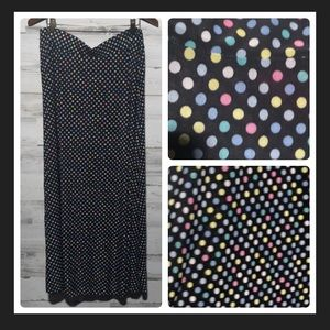 Plus size Maxi skirt multi color dots 2X